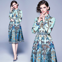 2020 Quality Runway Designer Spring Summer Dress Womens Shirt Collar peacock Animal Floral Print Pleated Vintage Dress