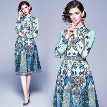 2020 qualität Runway Designer Frühling Sommer Kleid frauen Hemd Kragen pfau Tier Floral Print Plissee Vintage Kleid