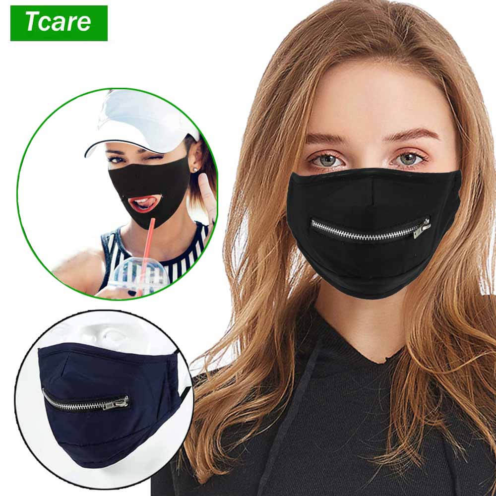 Summer Reusable Cotton Face Mouth Masks with Zipper, Eat or Drink without Removing the Cover Anti pollution Mask for Adults Kids|Masks| - AliExpress