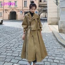 2019 early autumn Korean version of khaki temperament tooling windbreaker female long coat