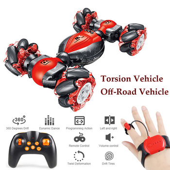 Radio Remote Control Stunt Car Watch Gesture Induction RC Drift Car Twisting Off-Road Vehicle Electric Mini RC Car Toys for Kids