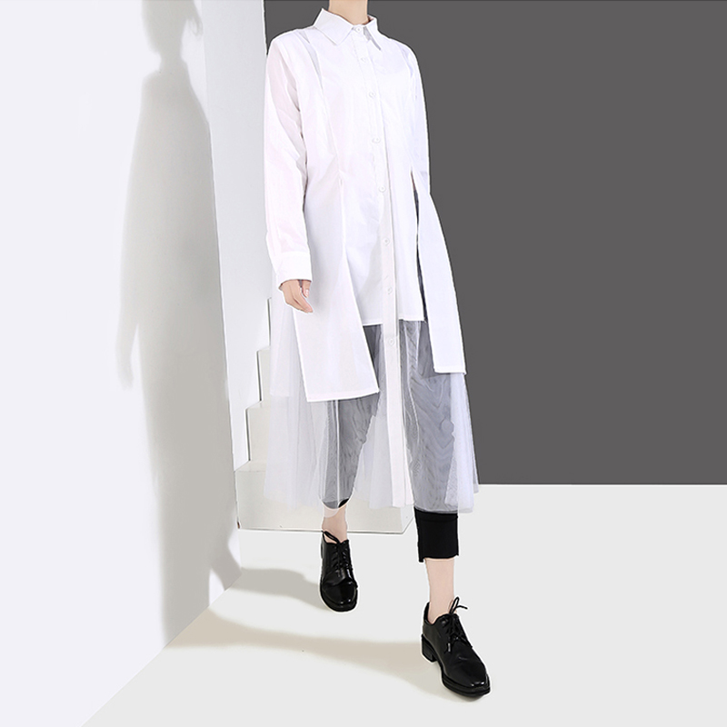 Image 2 - New 2019 Women Solid Black White Shirt Dress Long Sleeve Long 