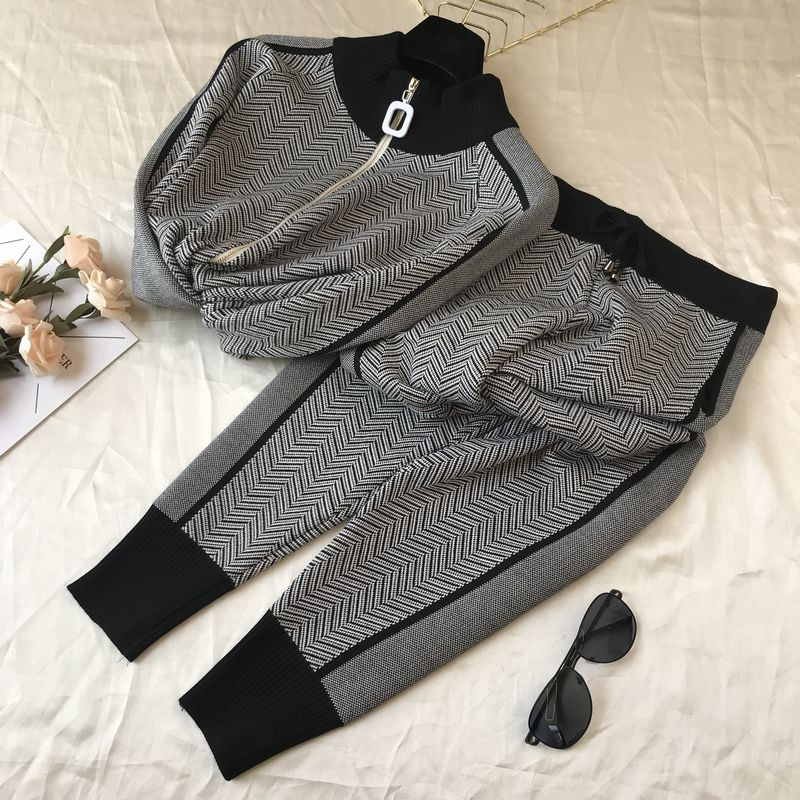 Fall Winter New Tracksuit Woman Color Patchwork Turtleneck Zipper Knitted Cardigans+Pants 2PCS Sets Long Sleeve Knit Top Trouser 62