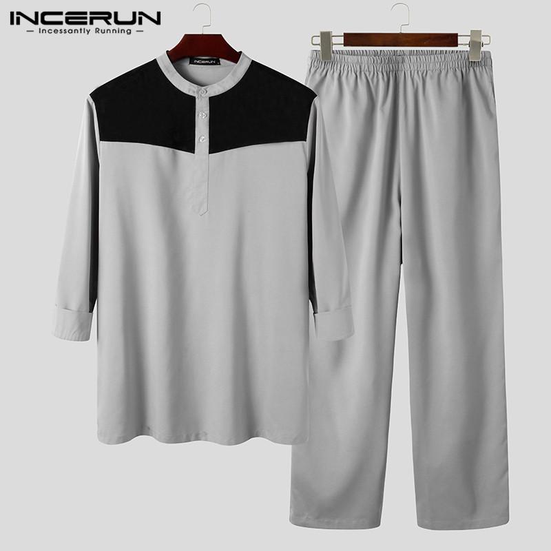 Muslim Men Sets Long Sleeve Patchwork Stand Collar Shirts Dubai Islamic Arabic Kaftan Long Pants Mens Suits 2 Pieces INCERUN 5XL