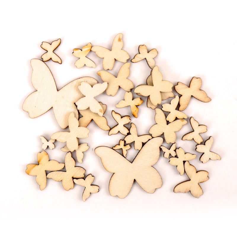 Wooden Butterfly Pattern Scrapbooking Art Collection Craft For Handmade Accessory Sewing Home 10/15/20/30/40mm 50pcs MT0700-FD
