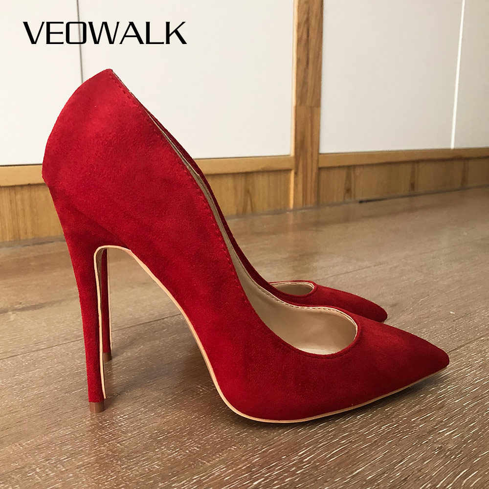 Veowalk נשים סקסי הבוהן מחודדת פגיון מאוד גבוהה עקבים אופנה גבירותיי מעצב להחליק על חתונה כלה משאבות נעליים אדום