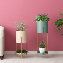Nordic flower stand balcony living room indoor green plant pot stand restaurant green dill flower pot plant stand(China)