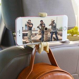 Image 3 - Universal Car Headrest Hook 5kg Max Car Back Seat Hanger with Phone Holder for Bag Handbag Purse Grocery Cloth Easy Install