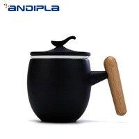 300ml Japanese Style Vintage Ceramic Mug with Wood Handgrip Tea Milk Coffee Cup Office Water Drinkware Gift Box with Lid Coaster