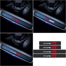 For Honda Civic City Mugen TYPER VTEC Accord Odyssey Spirior CRV Car Styling 4Pcs Carbon Fiber Door Sill Scuff Car Stickers