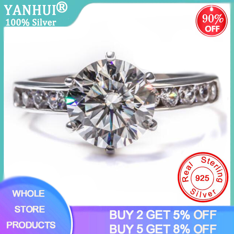 Sell at a loss! With Certificate Whole Solid 925 Silver Ring Natural 2ct Zirconia Gemstone Wedding Rings Bride Band Anel Jewelry