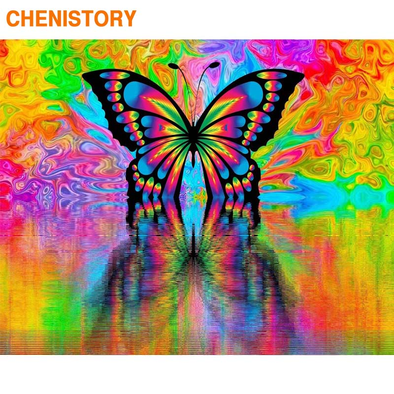 CHENISTORY Frame 60x75cm DIY Painting By Numbers Handpainted Oil Painting Butterfly Paint By Numbers For Home Wall Art Gift