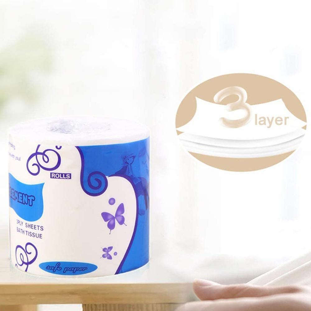 5pcs/10pcs Toilet Paper Bulk Bath Tissue Bathroom Soft White 3 Ply Kitchen Soft