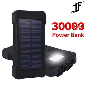 Solar Power Bank Waterproof 30000mAh Charger 2 USB Ports External Charger Powerbank for Xiaomi MI iPhone 8 Smartphone Huawei