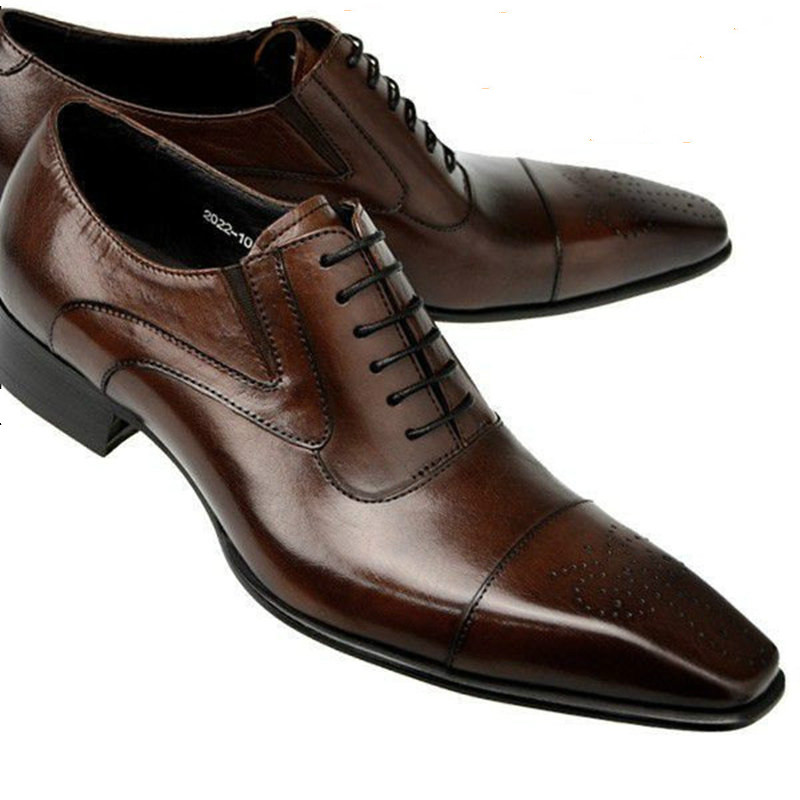 Formal Leather Long Toe Dress Shoes