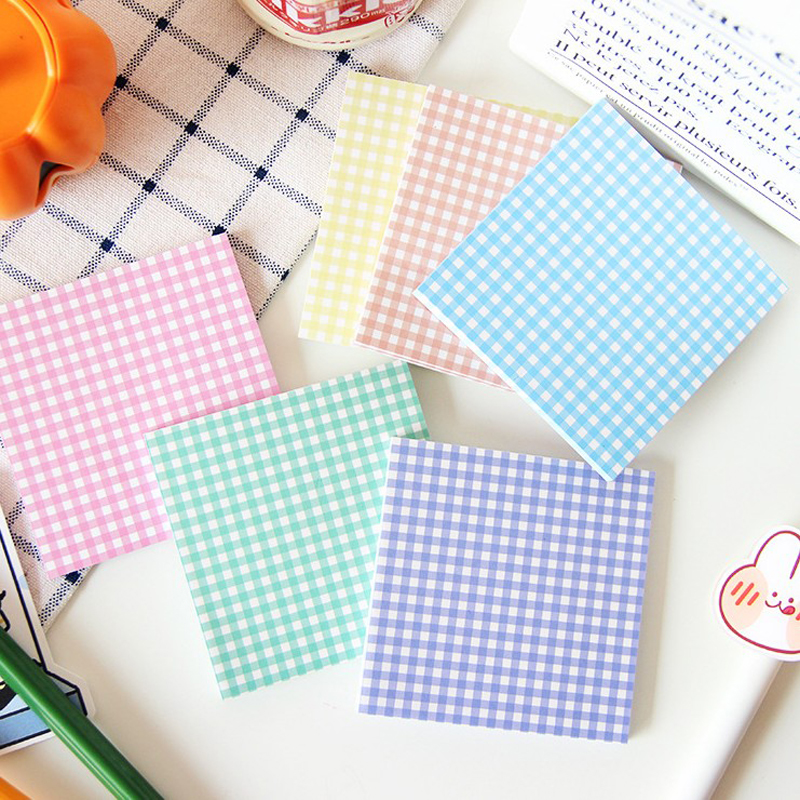 50Sheets/Pack Kawaii Lovely Daily Collection Candy Color Grid Memo Pad Paper Sticky Notes Daily Work Planner Sticker Label