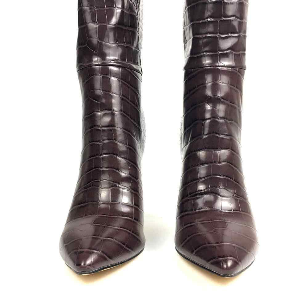 Aimirlly Vrouwen Schoenen Wees Teen Hoge Hak Knie Hoge Laarzen Trek Krokodil Patroon Winter Mode Laarzen