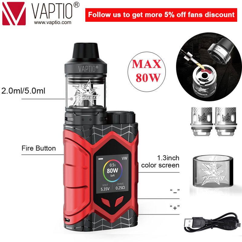 [Limited Special SALE]Original Vaptio Wall Crawler Vape Kit 2.0/5.0ml Vaporizer 80W 0.05/2ohm E Cigarette TCR 1.3inch TFT Screen