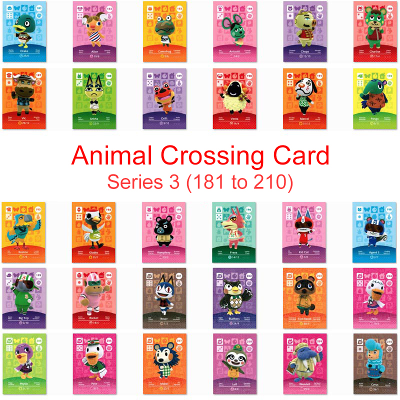 Series 3 (181 To 210) Animal Crossing Card Amiibo Card Work For NS 3DS Game Switch New Horizons Ankha Kid Cat Villager Card