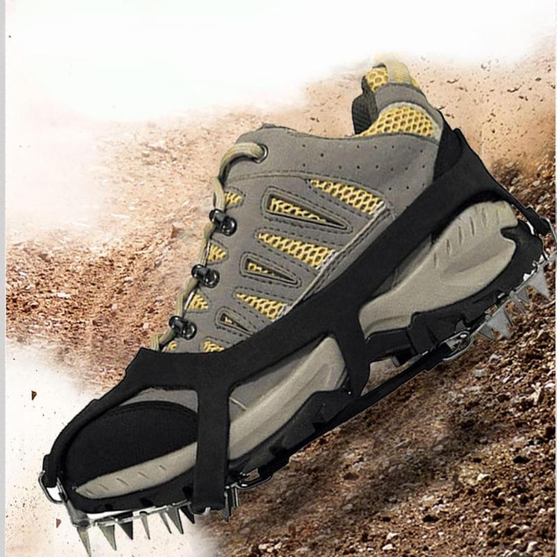18 Teeth Fishing Ice Snow Shoe Spiked Grips Cleats Crampons Winter Climbing Camping Anti Slip Shoes Cover Pesca Black Orange