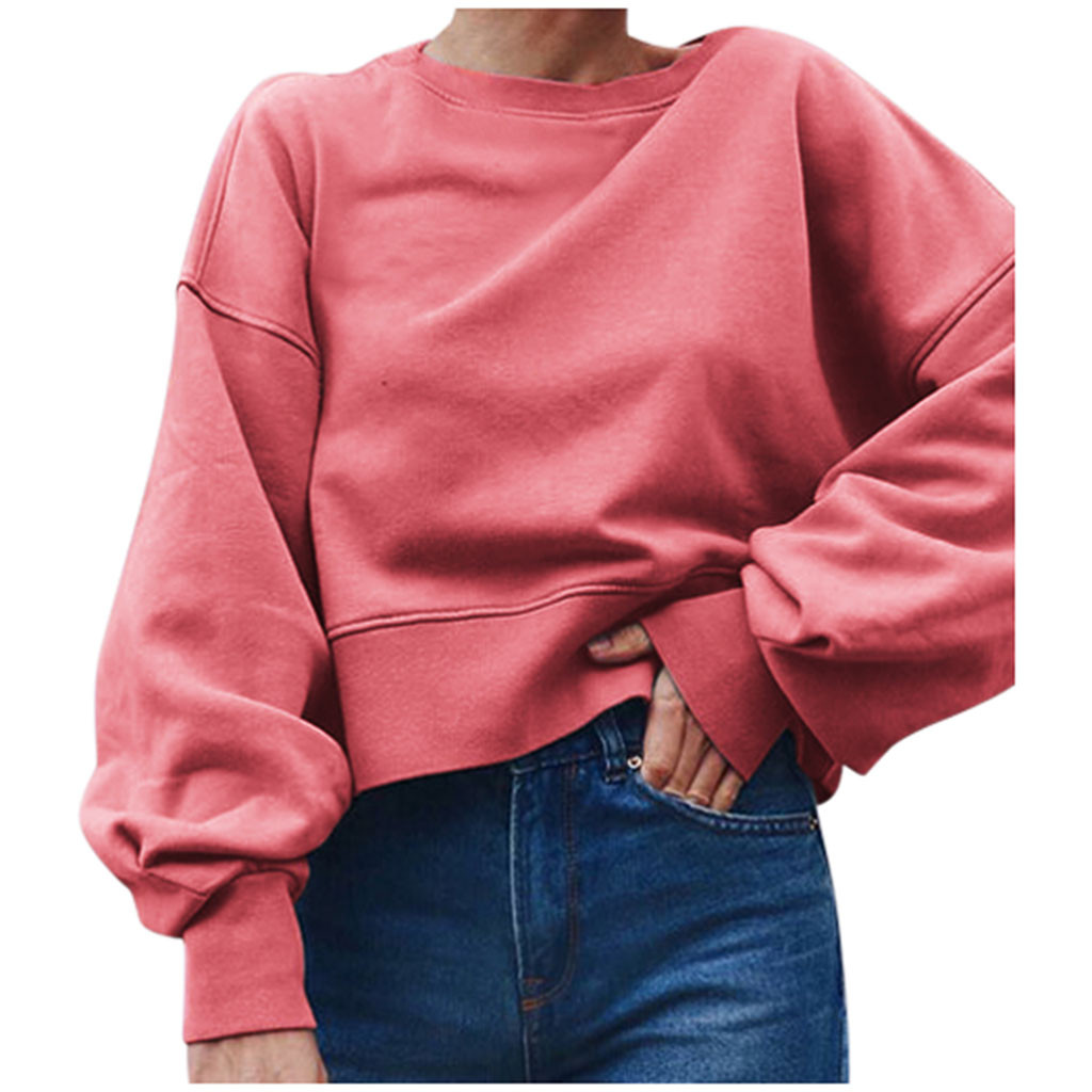 Woman Long Sleeve Sweatshirt Explosion Style Solid Color O-Neck Loose Pullover Autumn Winter Fashion Casual Warm Top Blouse #M