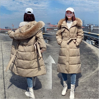 new mens winter cotton padded long coat black hooded parka thick warm casual plus size m xxxxxl u73 Lingwave Winter cotton padded jacket plus size M-4XL long fur hooded slim fit loose thick winter parka coat warm jacket women