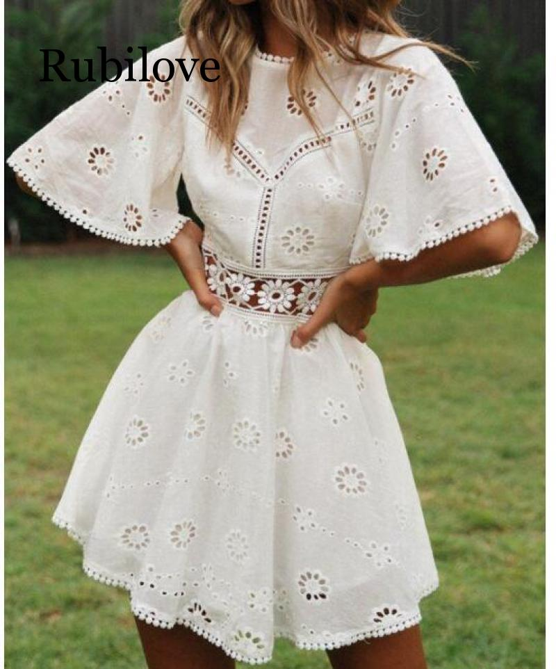 Rubilove sexy white cotton crochet hollow out dress women flare sleeve embroidery mini 2019 summer day