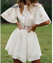 Rubilove sexy white cotton crochet hollow out dress women flare sleeve cotton embroidery mini dress 2019 summer day dress 3 4 sleeve crochet flare dress