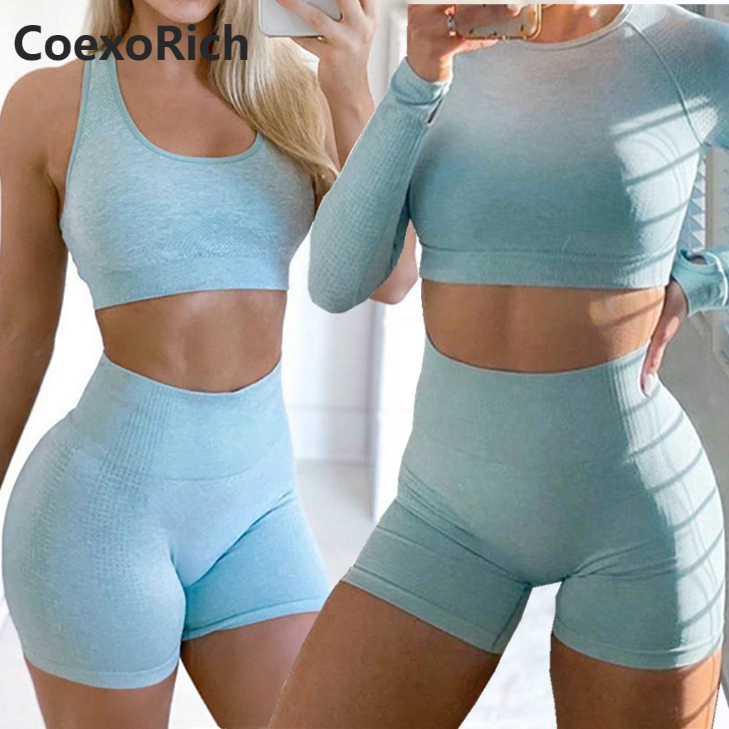 Women Yoga Set 2 Piece Vital Seamless Sport Suit Gym Clothes Fitness Crop Top Shirt High Waist Shorts Sleeveless Long Sleeve