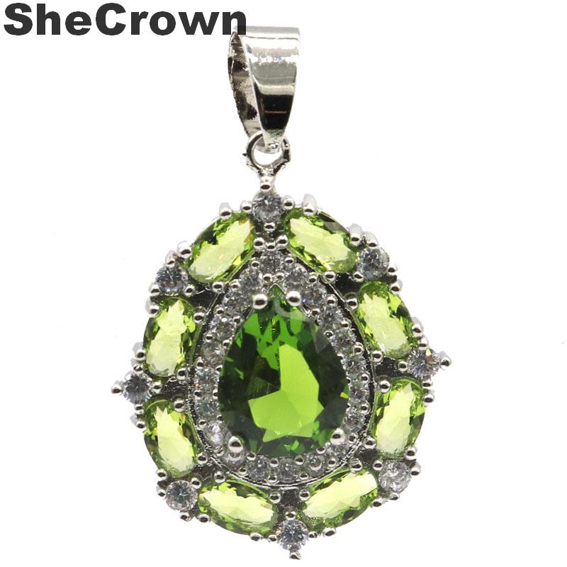32x21mm Deluxe Created Green Peridot CZ Ladies Party Silver Pendant