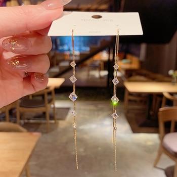 New Fashion Kortean Long Dangle Earrings For Women Full Crystal Pearl Tassel Drop Earring Vintage Gold Brincos Jewelry 1