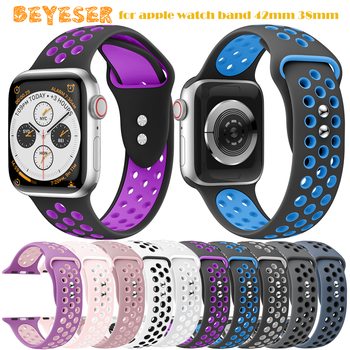 цена на Silicone Watch strap band for apple watch band 42mm 38mm Series 1/2/3 Wrist Strap for iwatch bands 4 40mm 44mm Bracelet Sport