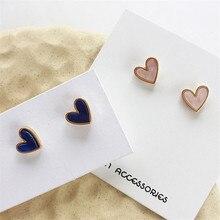 Модные мини серьги-гвоздики для женщин, маленькие серьги в форме сердца, милые романтические серьги-гвоздики из смолы для женщин