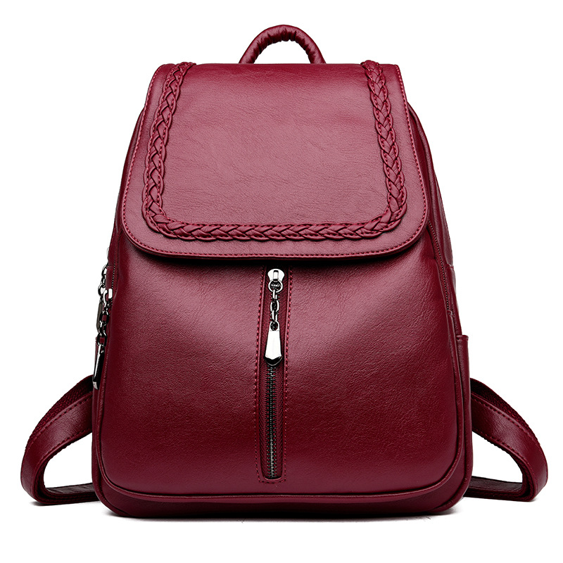Brand New Female Backpack Women Backpack Leather School Bag Women Fashion Designer Leather Bagpacks for Girls 2018-in Backpacks from Luggage & Bags