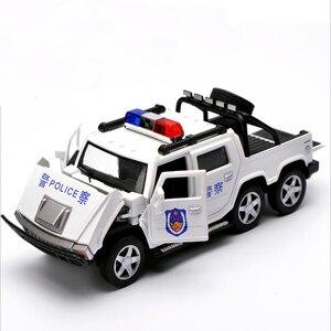 Image 2 - 1:32 6 륜 험머 합금 경찰 오프로드 모델 장난감 자동차 사운드 라이트 당겨 전차 완구 어린이를위한 자동차