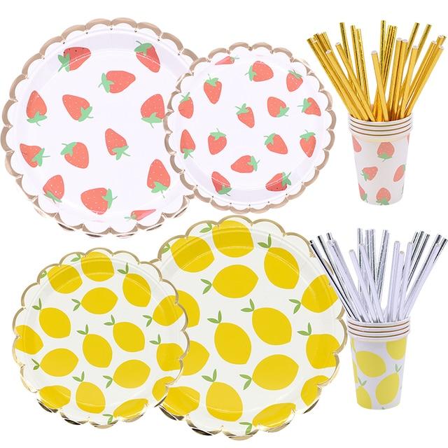 لطيف الفراولة الليمون نمط أطباق ورقية أكواب المناديل لوازم الطاولة/المائدة قابل للتصرف مجموعة عيد الأطفال حفل زفاف وعيد ميلاد لوازم