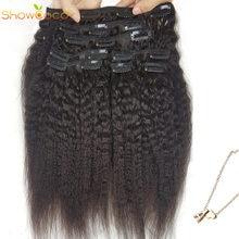 ShowCoco pince-dans une tête cheveux humains, crépus droite trois couches trames fait à la Machine Remy réel brésilien, pince dans les Extensions de cheveux