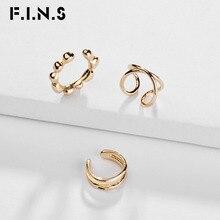 F.I.N.S 3 Pieces/Set Trendy Korean Fashion Women Gold Color Copper Ear