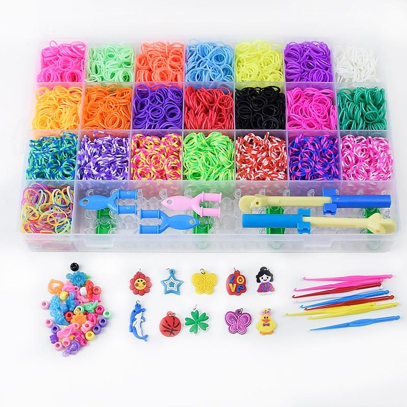 7000pcs Loom Rubber Bands Children Diy Toys Rainbow Bracelet Girl Gift Hair Band Colorful Gum Make Woven Bracelets Kids Toy