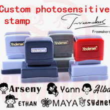 Teacher Name Custom name Stamp Signature Calligraphy Selfing-inking personalized stamp for School student Child cloths ink stamp