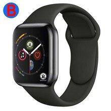 B Männer Frauen Bluetooth Smart Uhr Serie 4 SmartWatch für Apple iOS iPhone Xiaomi Android Smart Telefon (Rot Taste)