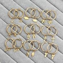 Маленькие золотые серьги-кольца для женщин, свисающие серьги из нержавеющей стали, модные ювелирные изделия, Бабочка, крест, бисер, лист, любовь, части