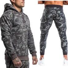 Ternos masculinos dos esportes dos homens conjunto de jogging roupas ropa de marca chandal casual conjunto com capuz camuflagem grande bolso algodão dresy agasalho