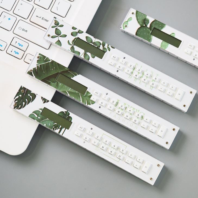 1 Pcs Kawaii Nordic Style Green Plant Mini Calculator Straight Rulers Precision Measuring Tool Office School Supplies Stationery