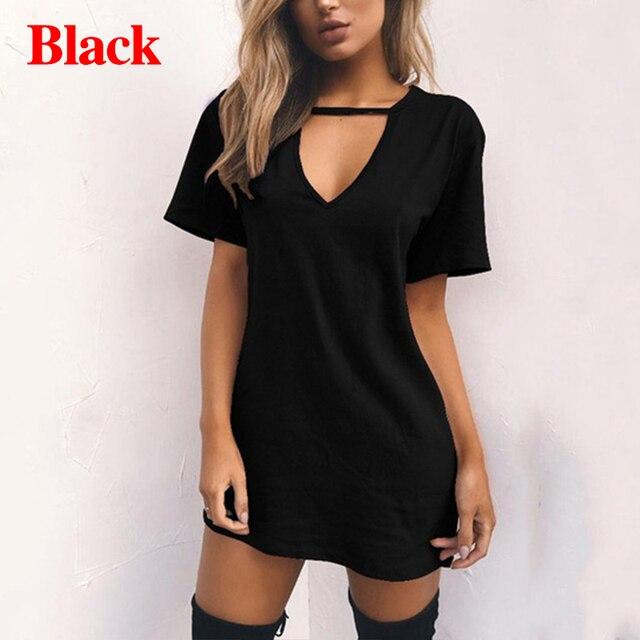 Summer Women Sexy Tshirt DressFemale Choker V Neck Dresses Girls Mini T-Shirt Dress Short Sleeve LadiesClothing Dropshipping 3