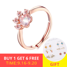 XiaoJing 100%925 sterling silver cat&Dog claw ring opening adjustable ladie wedding pink crystal CZ for Women gift 2019 New