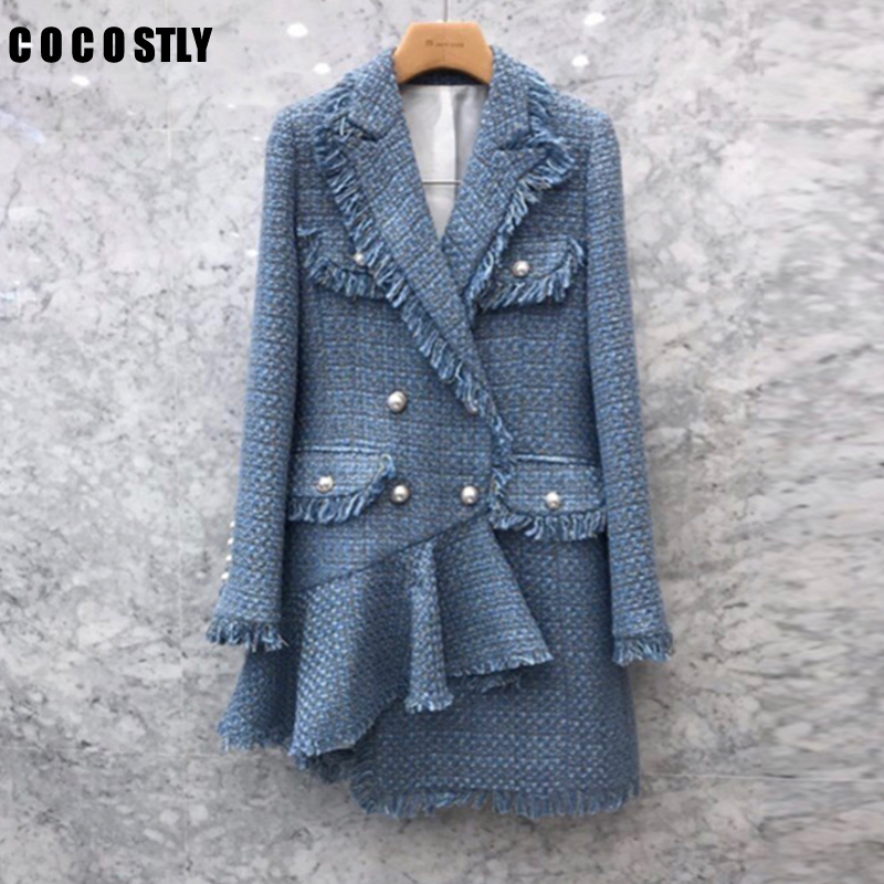 Suit Jacket Female Korean Style Long Tweed Blazer Women Coat Double-breasted Sleeve Suit For Women Tweed Jacket Clothing