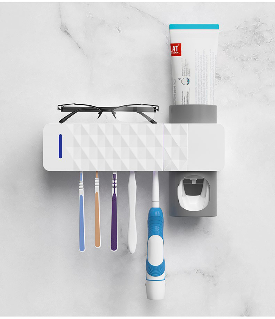 GURET 3 in 1 UV Toothbrush Sanitizer with Automatic Toothpaste Squeezers as Bathroom Accessories 24