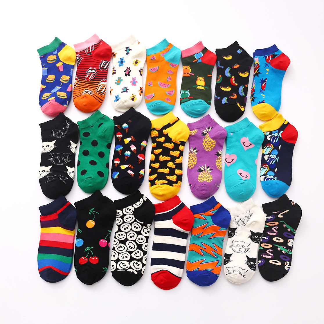 PEONFLY Summer Trendy Happy Socks Men Cotton Boat Man Socks Interest Funny Originality Harajuku Ankle Sock Food Fruit