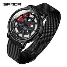 SANDA мужские часы, кварцевые, Лидирующий бренд, военные, в форме колеса, вращающийся циферблат, деловые мужские спортивные часы, водонепроницаемые, Relogio Masculino